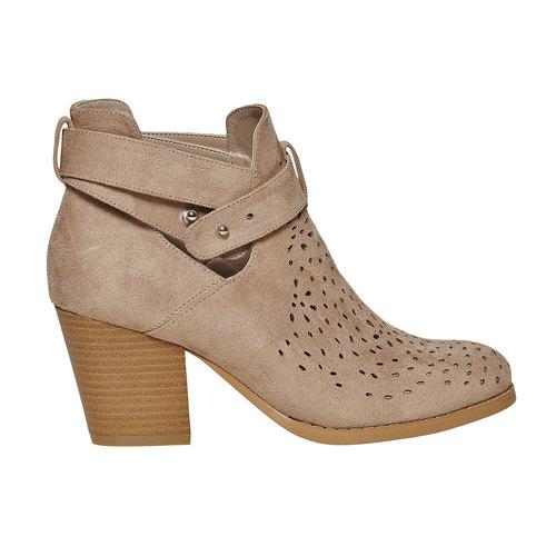 Stivaletti alla caviglia con perforazioni bata, beige, 799-8627 - 15