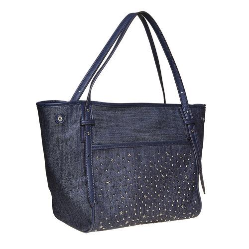Borsa da donna con borchie bata, blu, 969-9264 - 13