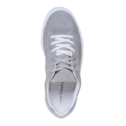 Sneakers in pelle in stile Creepers, grigio, 523-2476 - 19