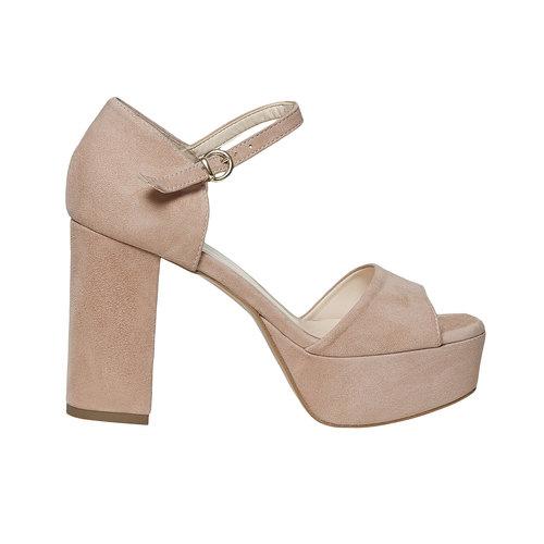 Sandali di pelle con tacco bata, beige, 763-8568 - 15