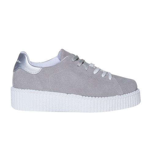 Sneakers in pelle in stile Creepers, grigio, 523-2476 - 15