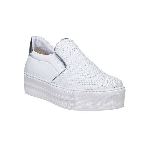 Slip-on da donna di pelle north-star, bianco, 514-1265 - 13