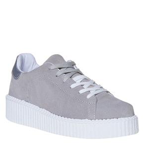 Sneakers in pelle in stile Creepers, grigio, 523-2476 - 13