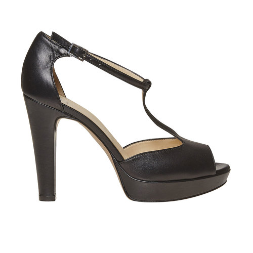 Sandali in pelle da donna bata, nero, 724-6708 - 15