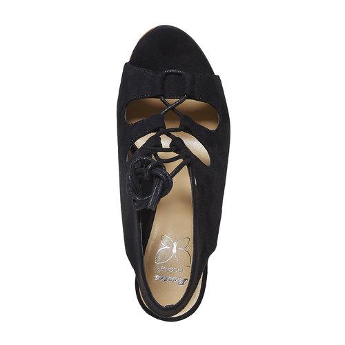 Sandali stringati con zeppa insolia, nero, 769-6559 - 19