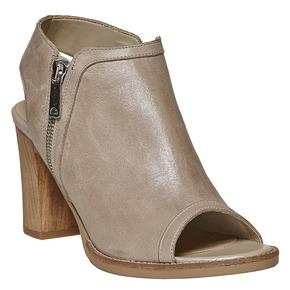Scarpe in pelle con punta aperta bata, beige, 724-2530 - 13