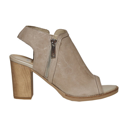 Scarpe in pelle con punta aperta bata, beige, 724-2530 - 15