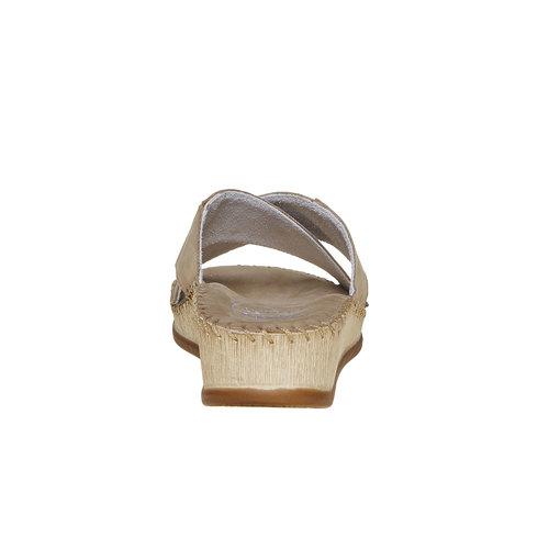 Slip-on in pelle con tacco a zeppa, beige, 574-3320 - 17