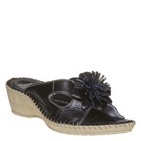 Pantofole in pelle con frange, nero, 674-6121 - 13
