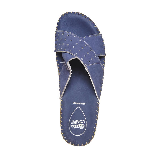 Slip-on in pelle da donna, blu, 574-9320 - 19