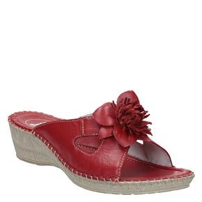Pantofole da donna in pelle, rosso, 674-5121 - 13