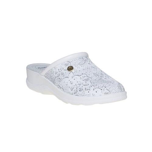Pantofole di pelle con motivo, grigio, 574-2291 - 13