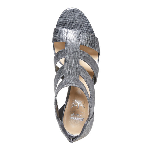 sandali metalizzati con tacco insolia, grigio, 761-2399 - 19