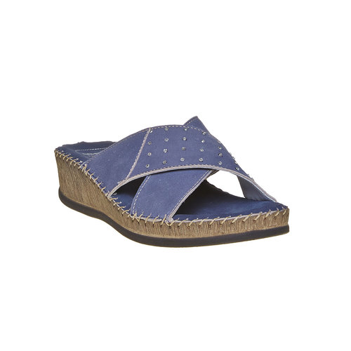 Slip-on in pelle da donna, blu, 574-9320 - 13