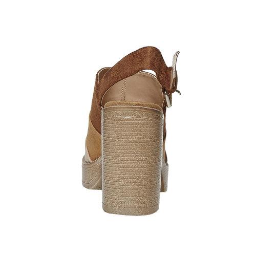 Sandali da donna con tacco stabile, marrone, 769-3252 - 17