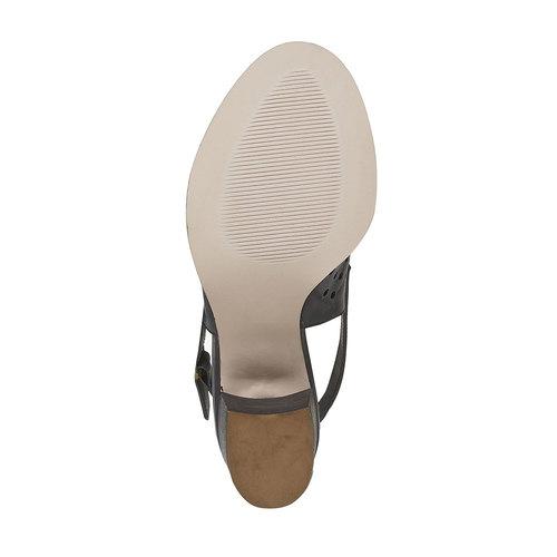 Sandali di pelle con tacco stabile bata, nero, 764-6589 - 26