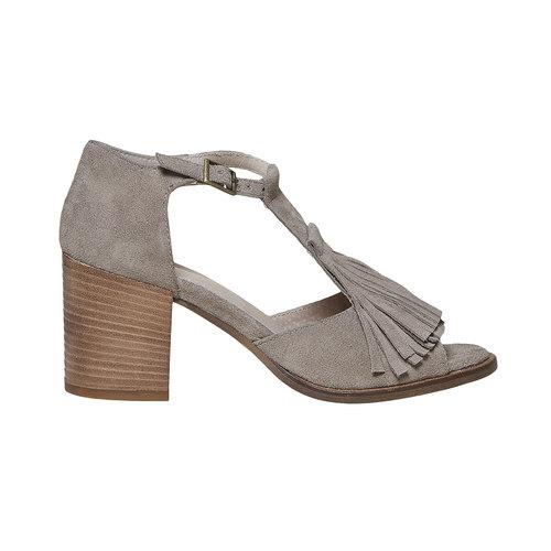 Sandali da donna con frange bata, grigio, 763-8519 - 15
