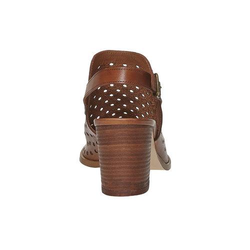 Sandali da donna in pelle con perforazioni bata, marrone, 764-3589 - 17
