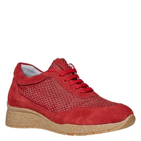 Sneakers rosse in pelle flexible, rosso, 529-5586 - 13