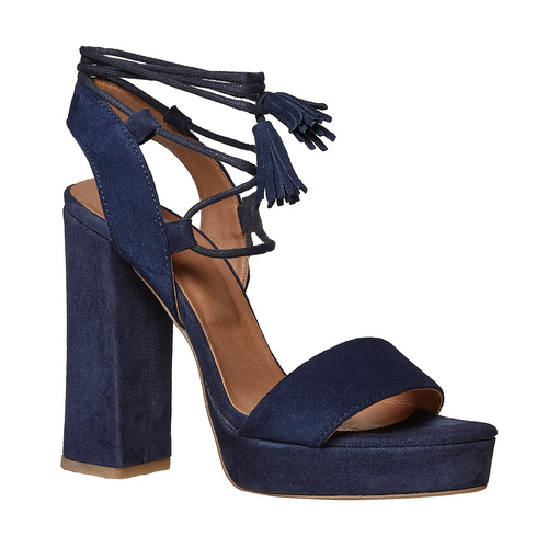 Sandali in pelle con nappe bata, blu, 763-9581 - 13