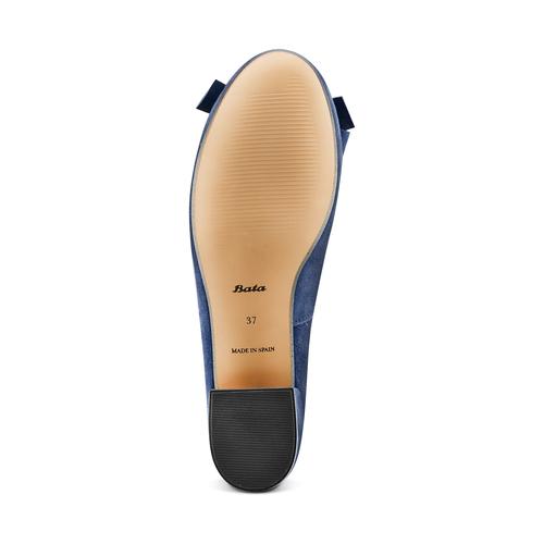 Ballerine con tacco bata, blu, 523-9420 - 19