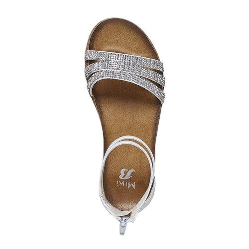 Sandali da ragazza con strass mini-b, bianco, 361-1196 - 19