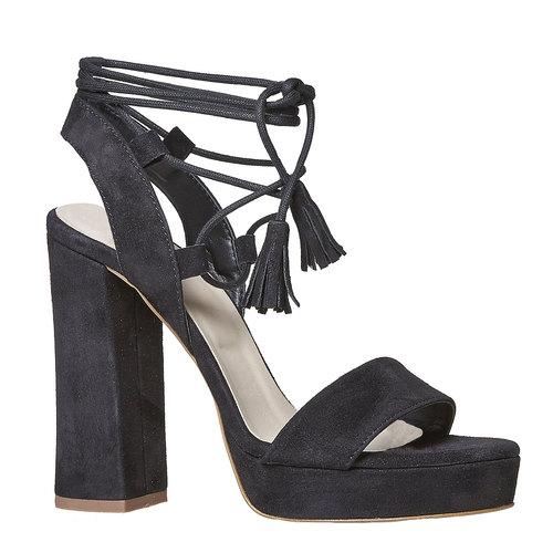 Sandali in pelle da donna con tacco bata, nero, 763-6581 - 13