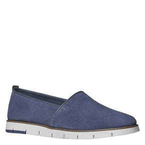 Slip-on in pelle da donna con trafori flexible, blu, 513-9200 - 13