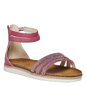 Sandali da ragazza con strass mini-b, rosa, 361-5196 - 13