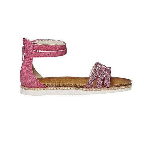 Sandali da ragazza con strass mini-b, rosso, 361-5196 - 15