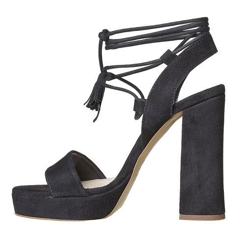 Sandali in pelle da donna con tacco bata, nero, 763-6581 - 26