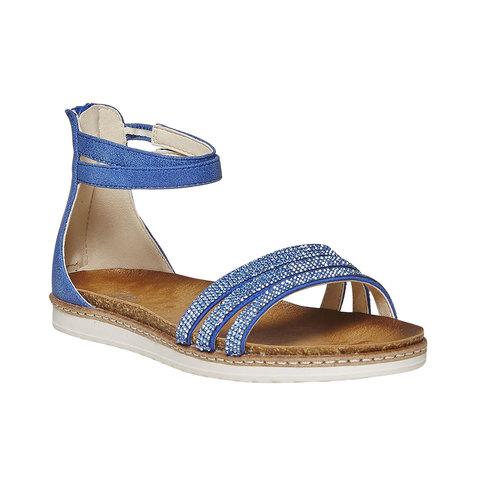 Sandali blu da ragazza con strass mini-b, blu, 361-9196 - 13