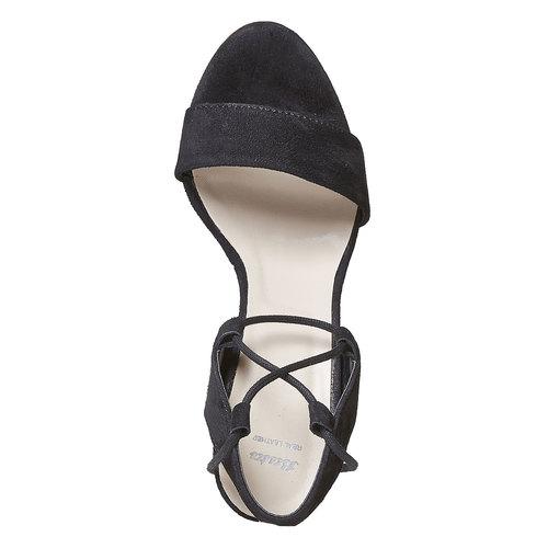 Sandali in pelle da donna con tacco bata, nero, 763-6581 - 19