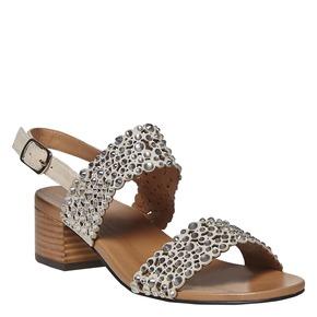 Sandali in pelle con perforazioni e strass bata, grigio, 663-2238 - 13