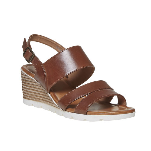 Sandali in pelle con plateau bata, marrone, 764-3585 - 13