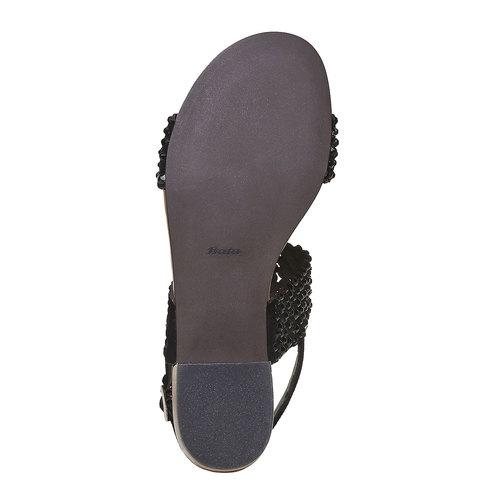 Sandali da donna in pelle con strass bata, nero, 663-6238 - 26