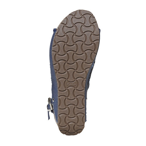 Sandali con plateau naturale bata, blu, 669-9248 - 26
