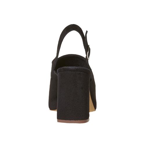 Sandali di pelle con tacco stabile bata, nero, 763-6577 - 17