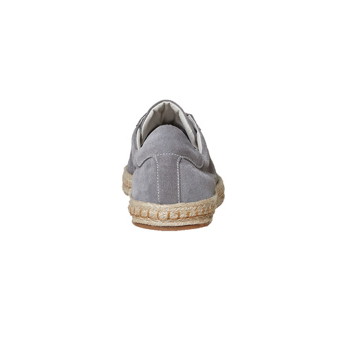 Sneakers in pelle con suola in iuta bata, grigio, 853-2317 - 17