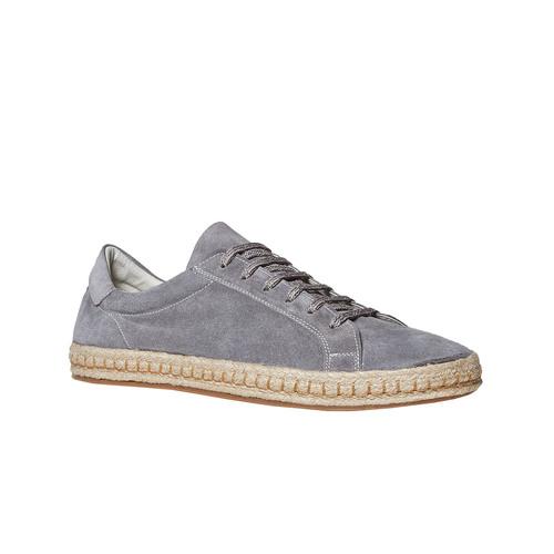 Sneakers in pelle con suola in iuta bata, grigio, 853-2317 - 13