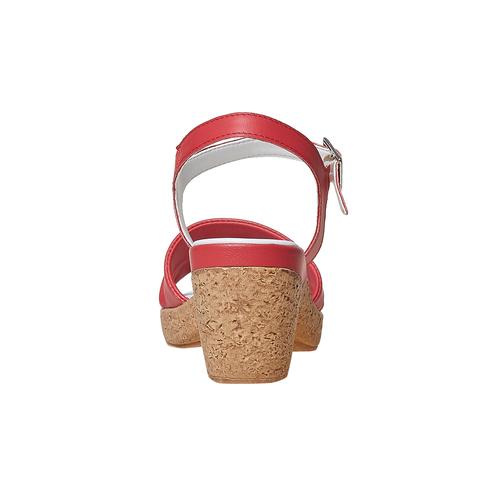 Sandali in pelle da donna con tacco bata-touch-me, rosso, 664-5231 - 17