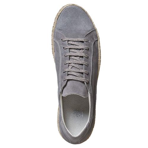 Sneakers in pelle con suola in iuta bata, grigio, 853-2317 - 19