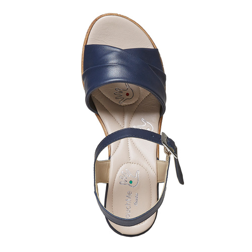 Sandali blu con tacco naturale bata-touch-me, blu, 664-9231 - 19