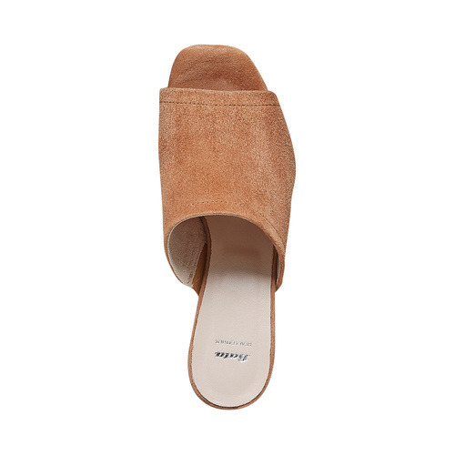 Slip-on in pelle da donna con tacco bata, marrone, 763-3578 - 19