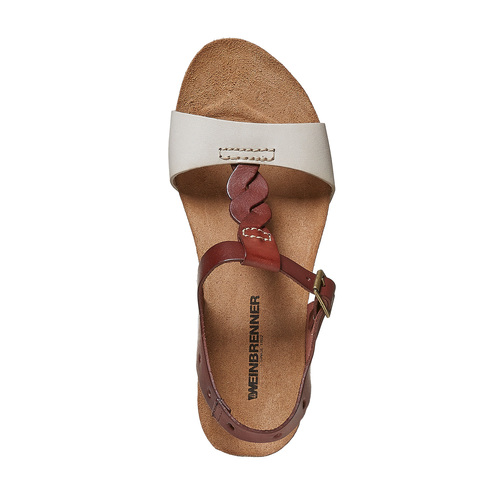 Sandali da donna in pelle weinbrenner, marrone, 564-4455 - 19