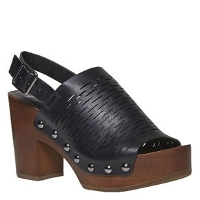 Sandali con tacco stabile bata, nero, 761-6599 - 13