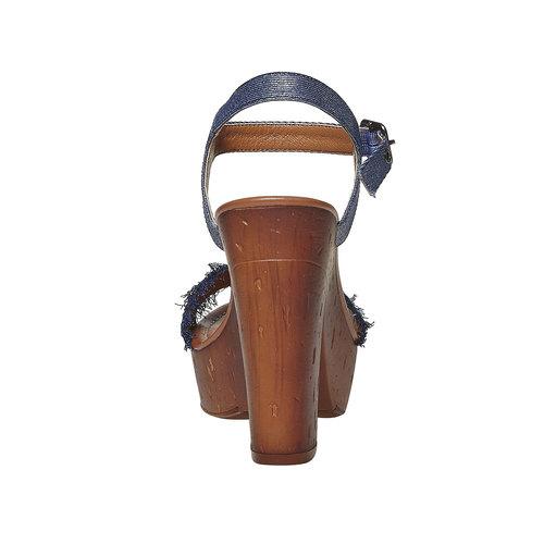 Sandali da donna con tacco naturale bata, blu, 769-9624 - 17