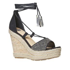 Sandali da donna con plateau naturale bata, nero, 769-6573 - 13