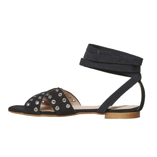 Sandali in pelle da donna con borchie, nero, 563-6495 - 26