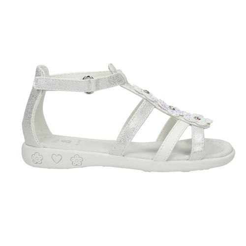 Sandali da ragazza con applicazioni floreali mini-b, bianco, 261-1178 - 15